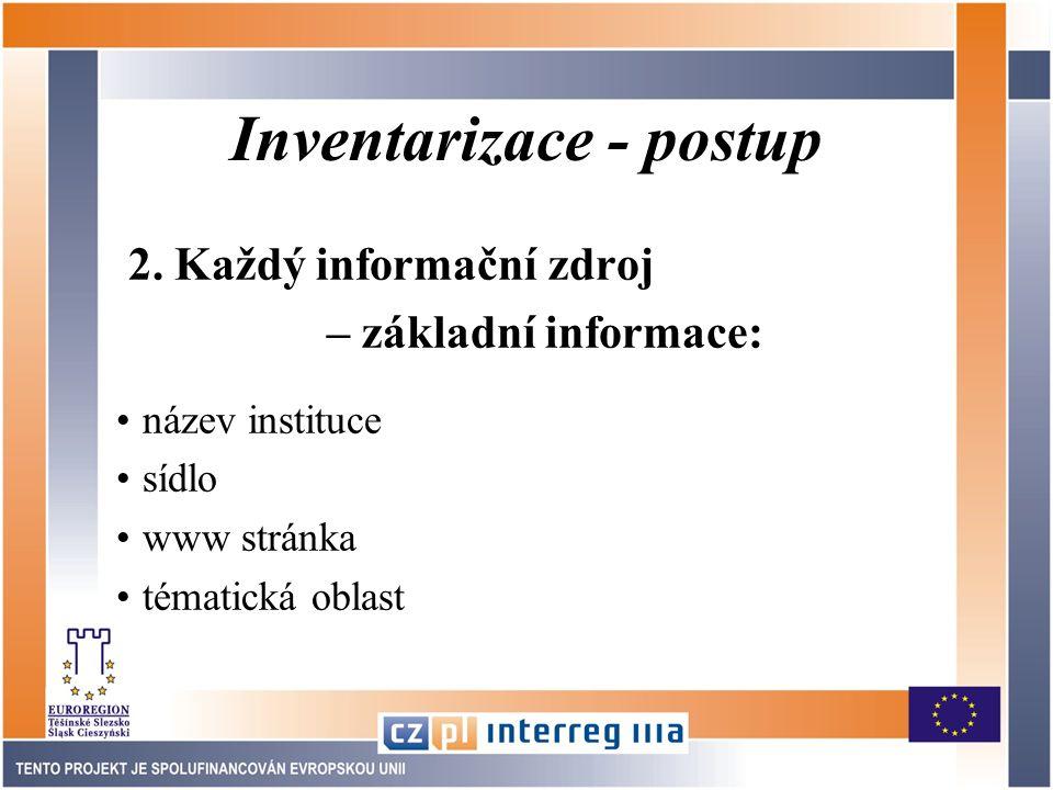 Inventarizace - postup 2.