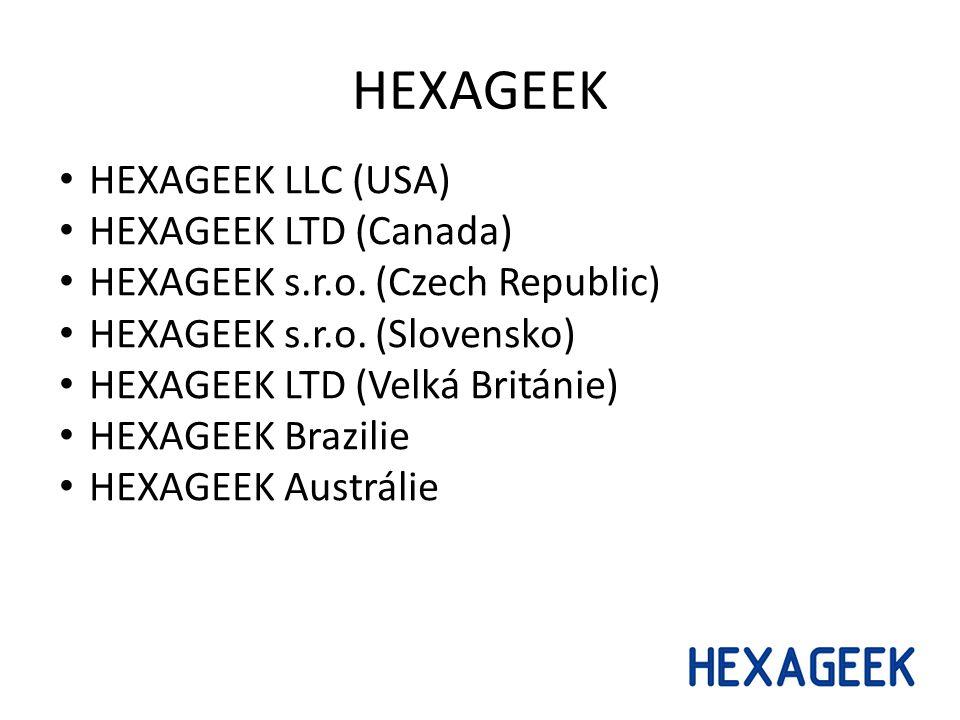 HEXAGEEK HEXAGEEK LLC (USA) HEXAGEEK LTD (Canada) HEXAGEEK s.r.o. (Czech Republic) HEXAGEEK s.r.o. (Slovensko) HEXAGEEK LTD (Velká Británie) HEXAGEEK