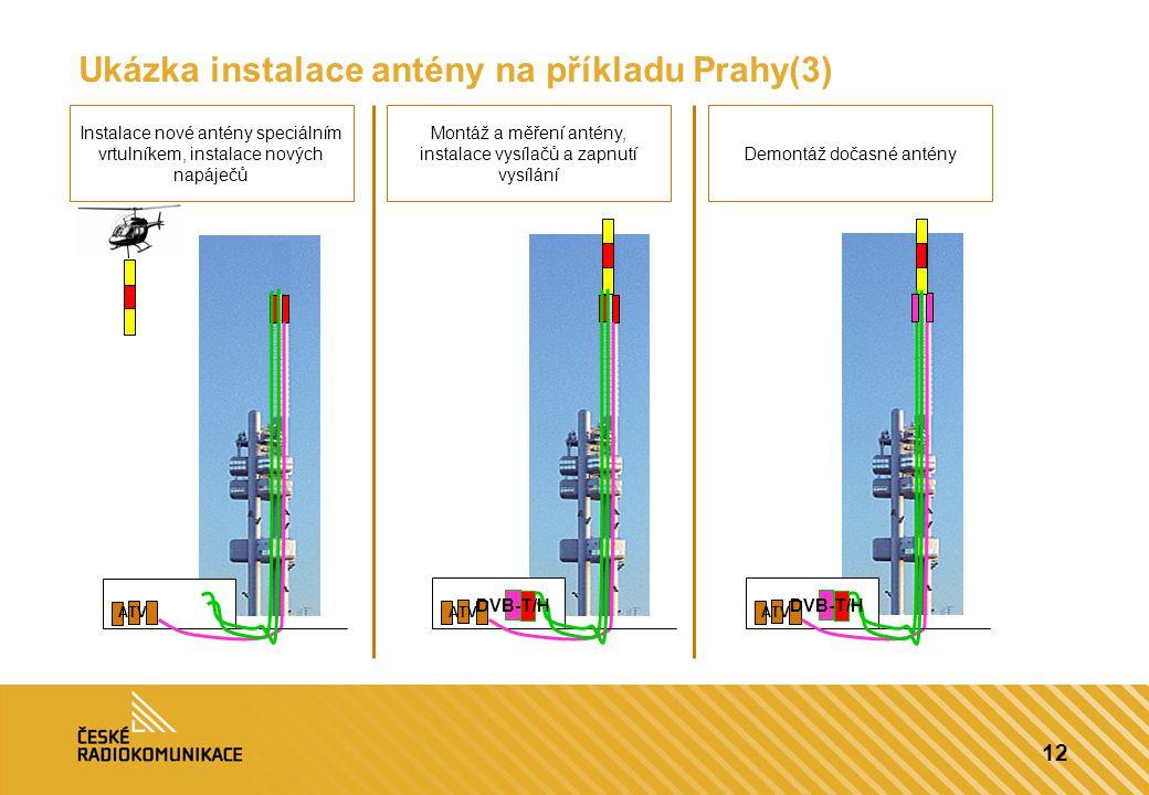 12 Ukázka instalace antény na příkladu Prahy(3) ATV DVB-T/H ATV DVB-T/H Instalace nové antény speciálním vrtulníkem, instalace nových napáječů Montáž