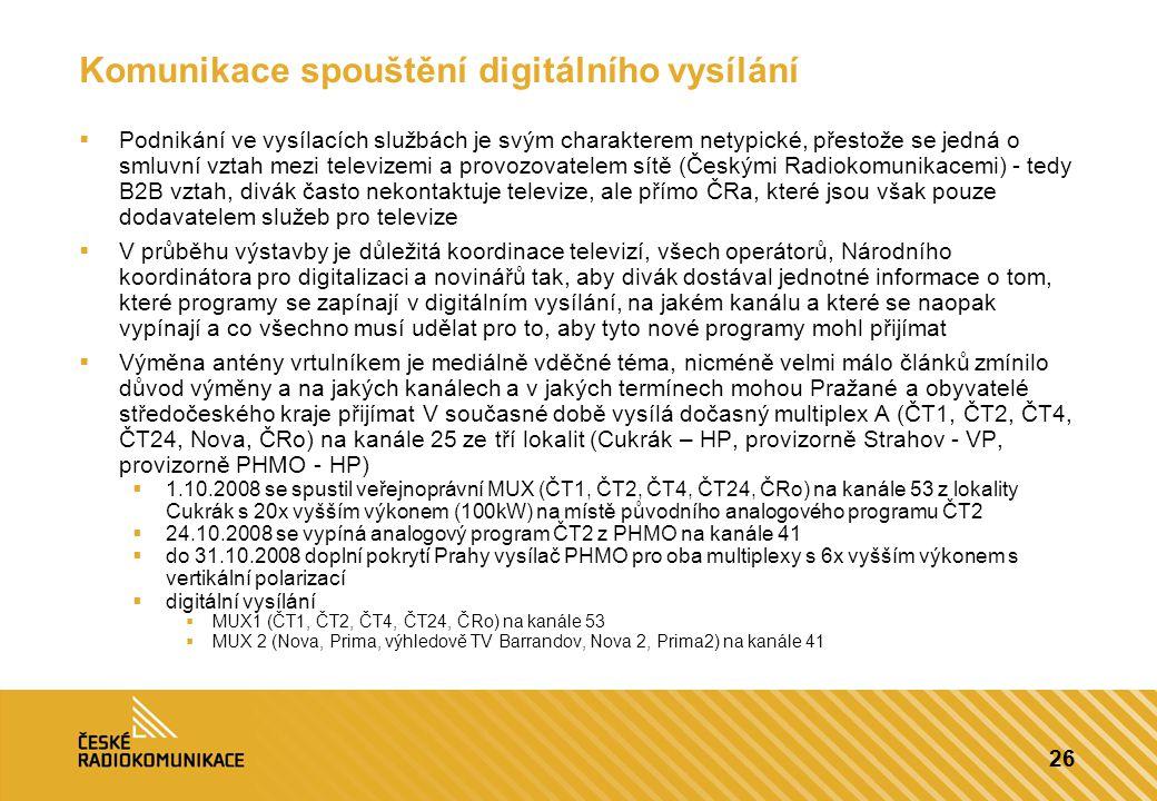 26 Komunikace spouštění digitálního vysílání  Podnikání ve vysílacích službách je svým charakterem netypické, přestože se jedná o smluvní vztah mezi