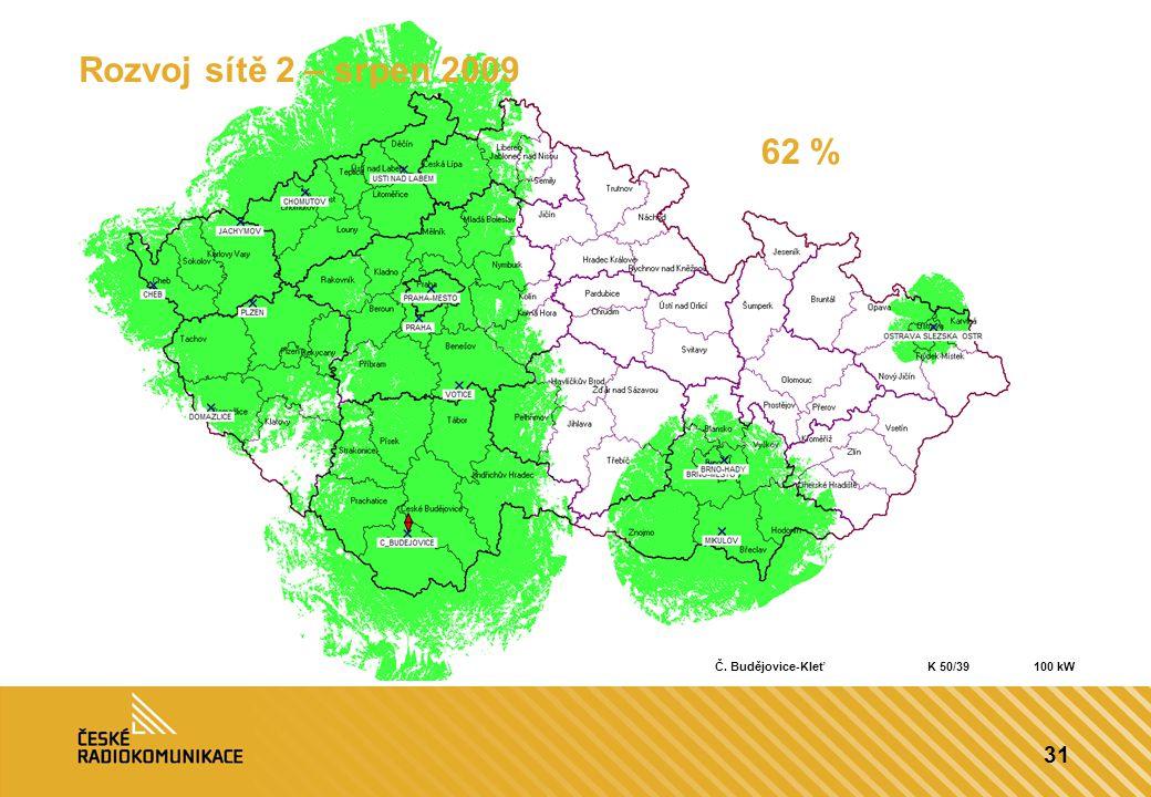 31 Rozvoj sítě 2 – srpen 2009 62 % Č. Budějovice-KleťK 50/39100 kW
