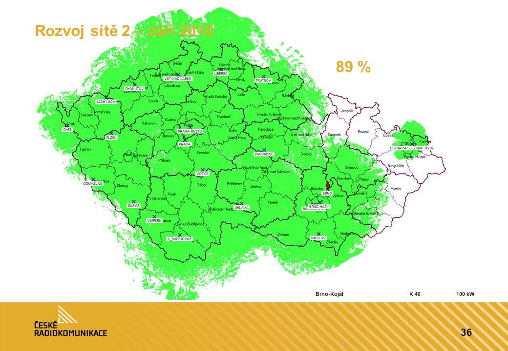 36 Rozvoj sítě 2 – září 2010 89 % Brno-KojálK 40100 kW