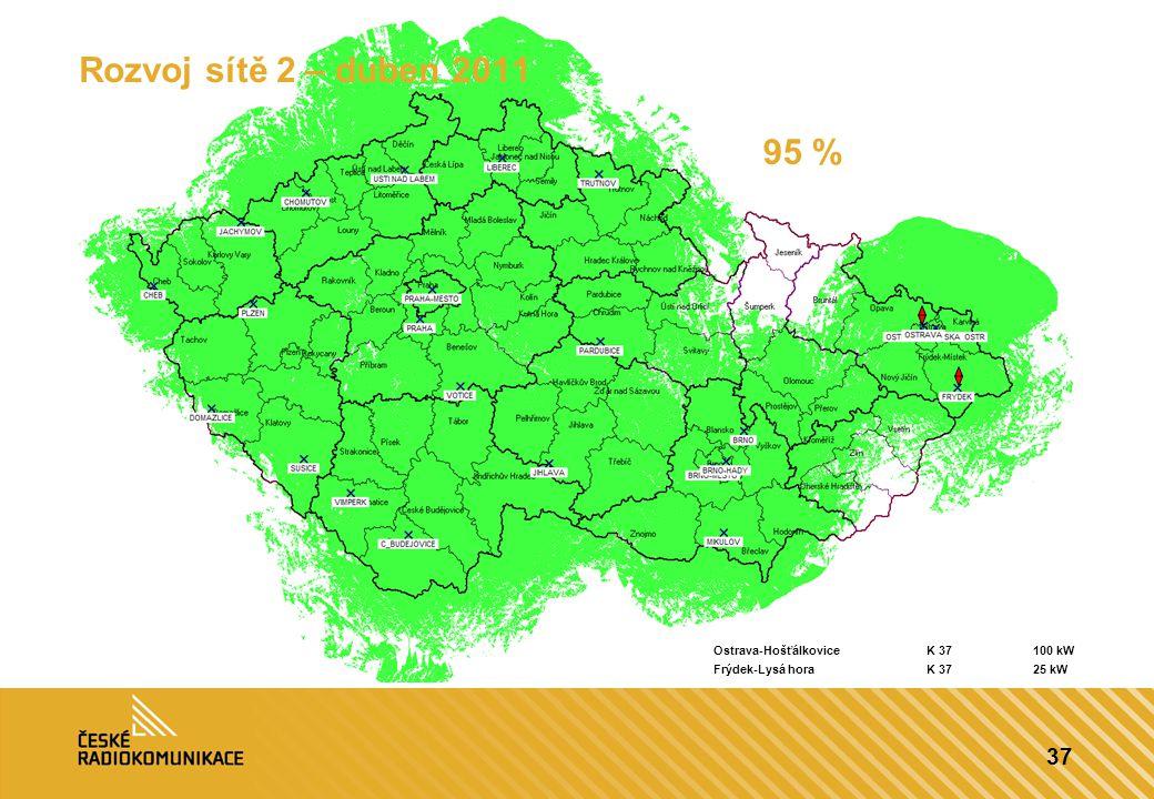 37 Rozvoj sítě 2 – duben 2011 95 % Ostrava-HošťálkoviceK 37100 kW Frýdek-Lysá horaK 3725 kW