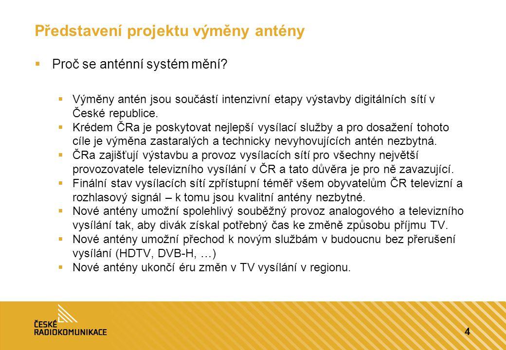 5 Představení projektu výměny antény  Proč se anténní systém mění.