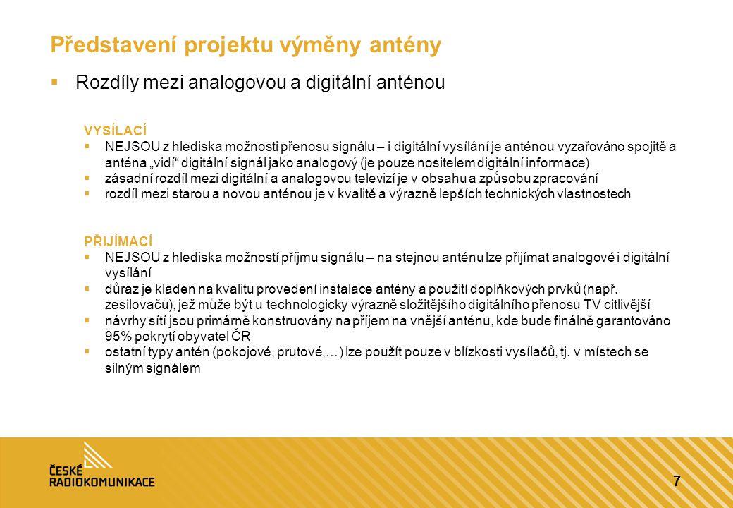 7 Představení projektu výměny antény  Rozdíly mezi analogovou a digitální anténou VYSÍLACÍ  NEJSOU z hlediska možnosti přenosu signálu – i digitální