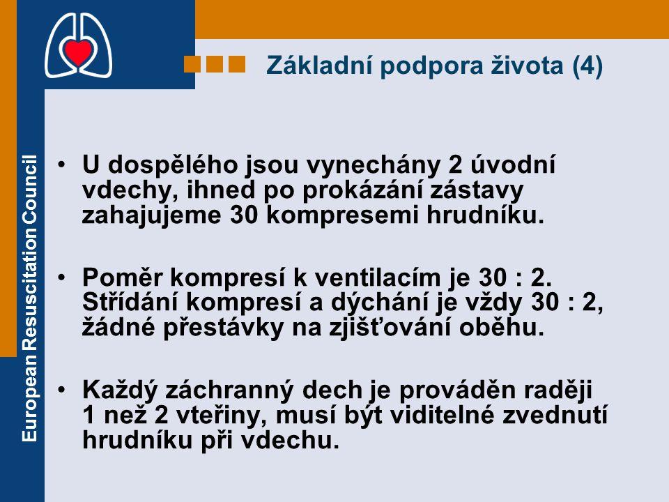 European Resuscitation Council Základní podpora života (4) U dospělého jsou vynechány 2 úvodní vdechy, ihned po prokázání zástavy zahajujeme 30 kompre