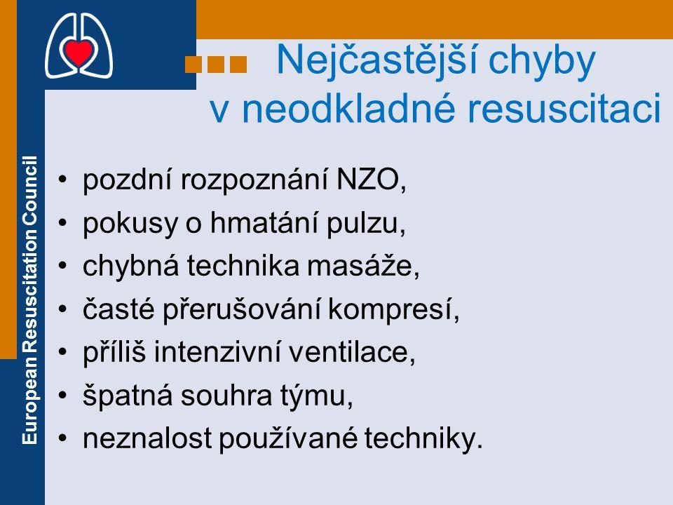 European Resuscitation Council Nejčastější chyby v neodkladné resuscitaci pozdní rozpoznání NZO, pokusy o hmatání pulzu, chybná technika masáže, časté