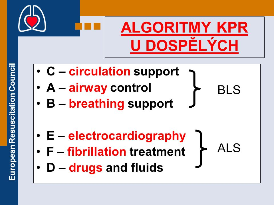European Resuscitation Council ALGORITMY KPR U DOSPĚLÝCH C – circulation support A – airway control B – breathing support E – electrocardiography F –