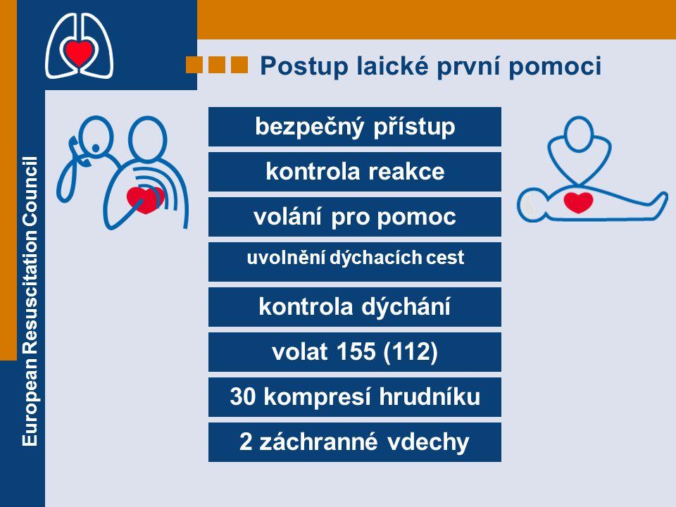 European Resuscitation Council bezpečný přístup kontrola reakce volání pro pomoc uvolnění dýchacích cest kontrola dýchání volat 155 (112) 30 kompresí