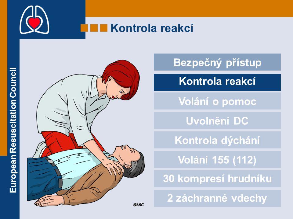 European Resuscitation Council Kontrola reakcí Bezpečný přístup Kontrola reakcí Volání o pomoc Uvolnění DC Kontrola dýchání Volání 155 (112) 30 kompre