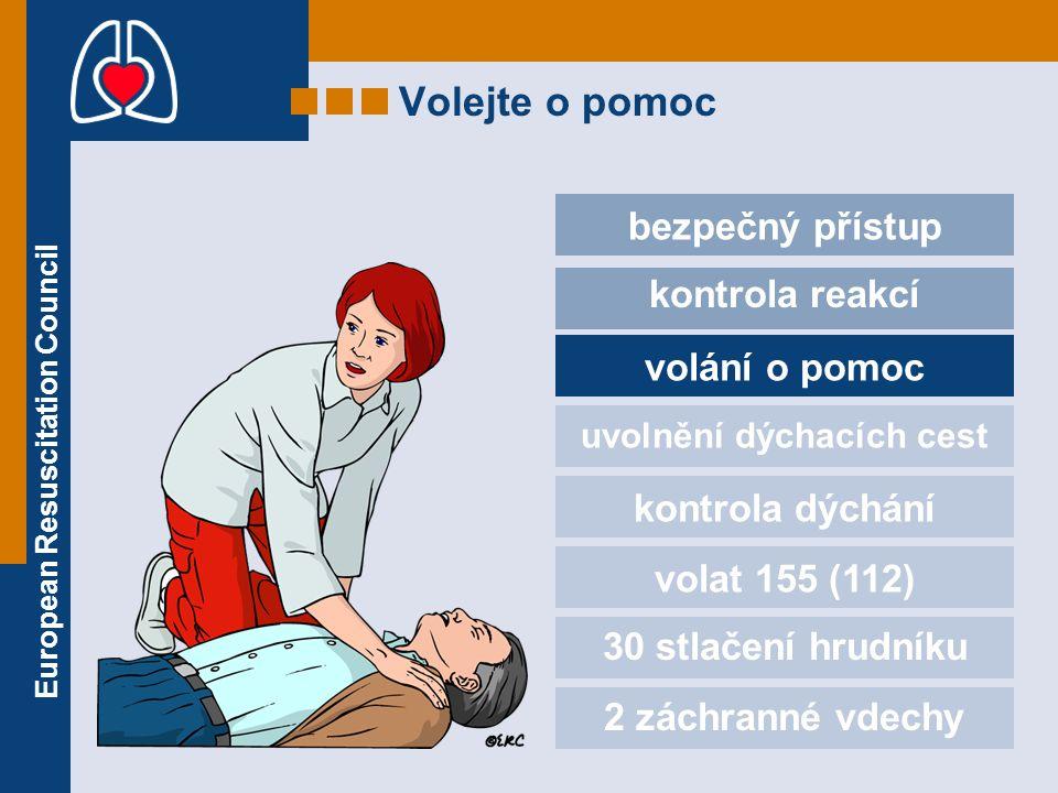 European Resuscitation Council Volejte o pomoc bezpečný přístup kontrola reakcí volání o pomoc uvolnění dýchacích cest kontrola dýchání volat 155 (112