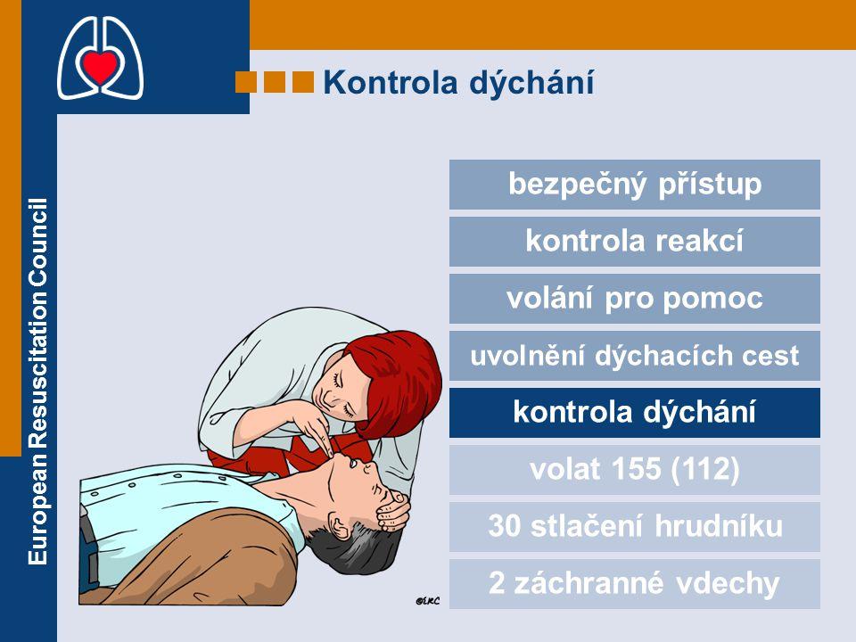 European Resuscitation Council Kontrola dýchání bezpečný přístup kontrola reakcí volání pro pomoc uvolnění dýchacích cest kontrola dýchání volat 155 (