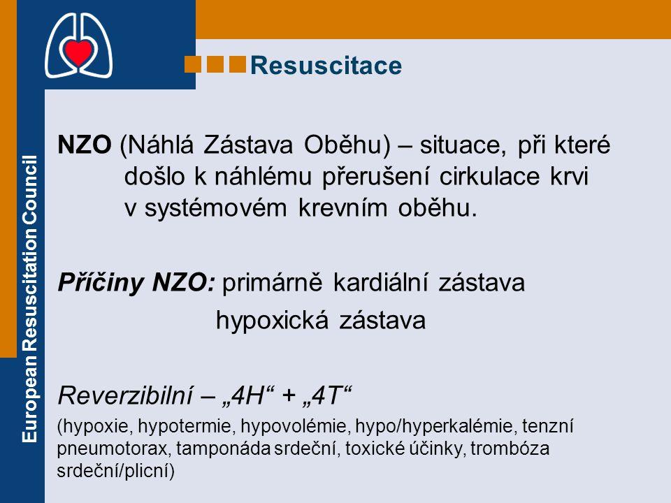 European Resuscitation Council Kontrola reakcí Bezpečný přístup Kontrola reakcí Volání o pomoc Uvolnění DC Kontrola dýchání Volání 155 (112) 30 kompresí hrudníku 2 záchranné vdechy