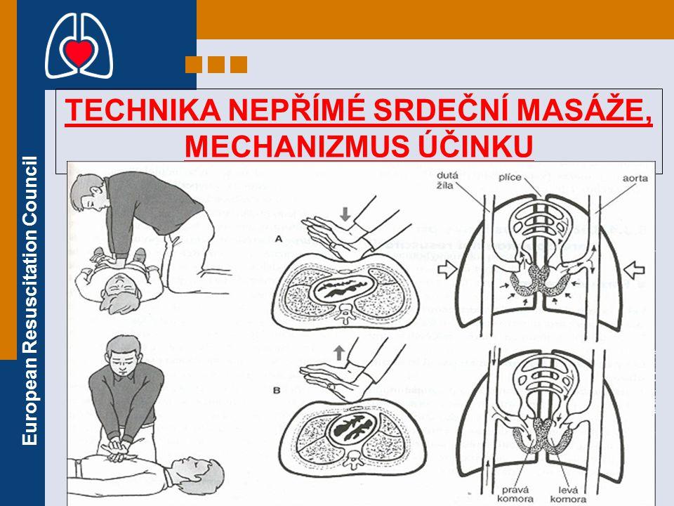 European Resuscitation Council TECHNIKA NEPŘÍMÉ SRDEČNÍ MASÁŽE, MECHANIZMUS ÚČINKU