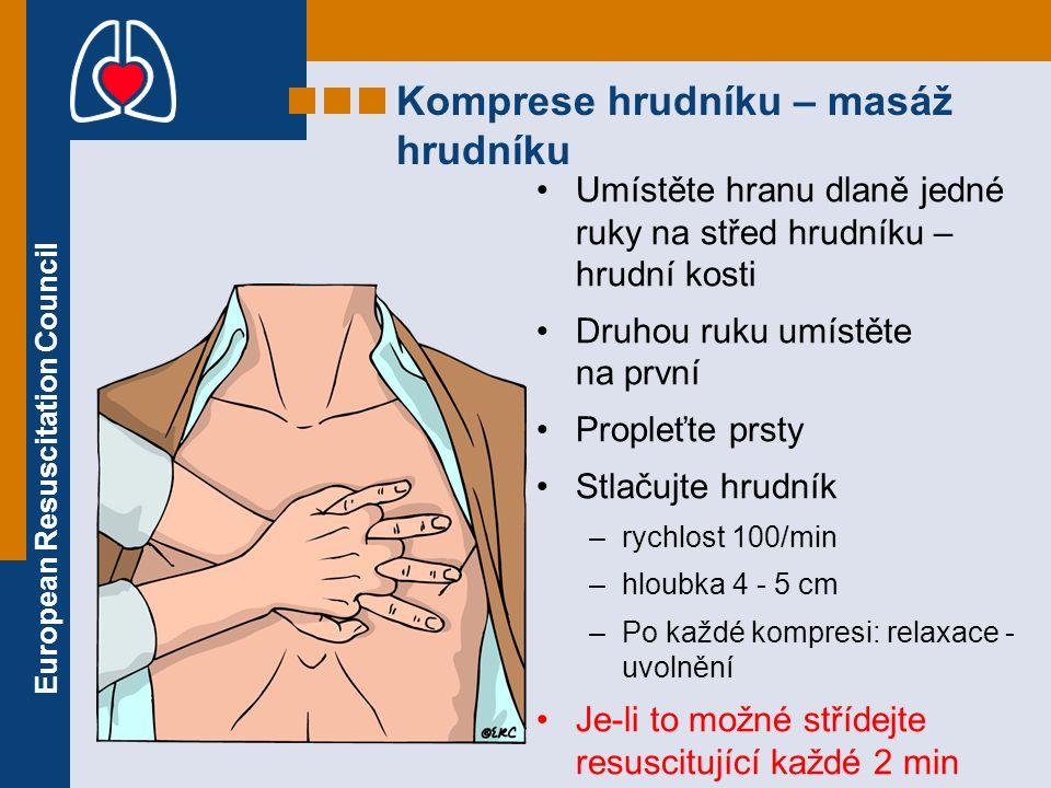 European Resuscitation Council Umístěte hranu dlaně jedné ruky na střed hrudníku – hrudní kosti Druhou ruku umístěte na první Propleťte prsty Stlačujt
