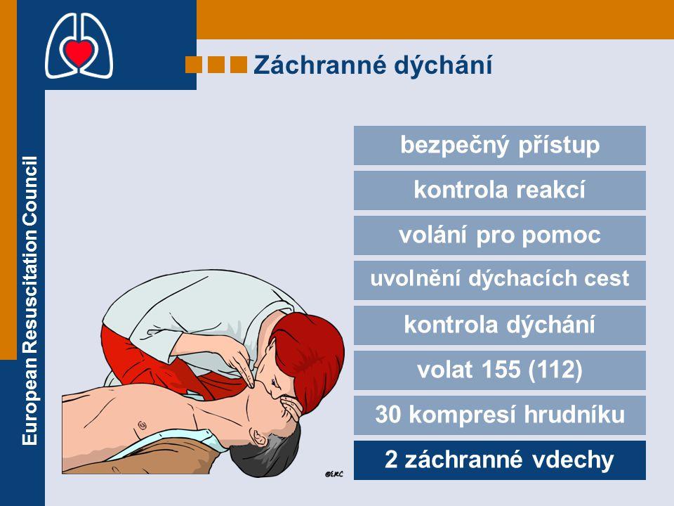 European Resuscitation Council Záchranné dýchání bezpečný přístup kontrola reakcí volání pro pomoc uvolnění dýchacích cest kontrola dýchání volat 155