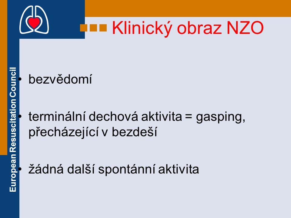 European Resuscitation Council Klinický obraz NZO bezvědomí terminální dechová aktivita = gasping, přecházející v bezdeší žádná další spontánní aktivi