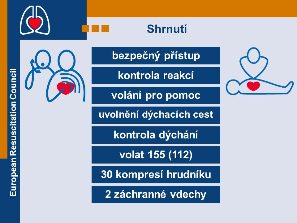 European Resuscitation Council bezpečný přístup kontrola reakcí volání pro pomoc uvolnění dýchacích cest kontrola dýchání volat 155 (112) 30 kompresí