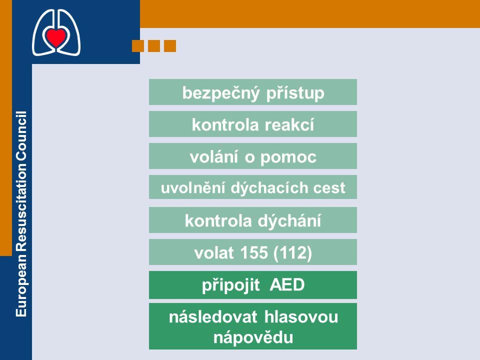 European Resuscitation Council volat 155 (112) bezpečný přístup kontrola reakcí volání o pomoc uvolnění dýchacích cest kontrola dýchání připojit AED n