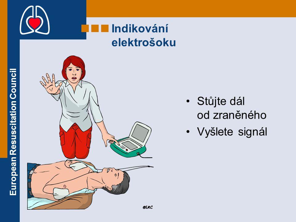 European Resuscitation Council Indikování elektrošoku Stůjte dál od zraněného Vyšlete signál