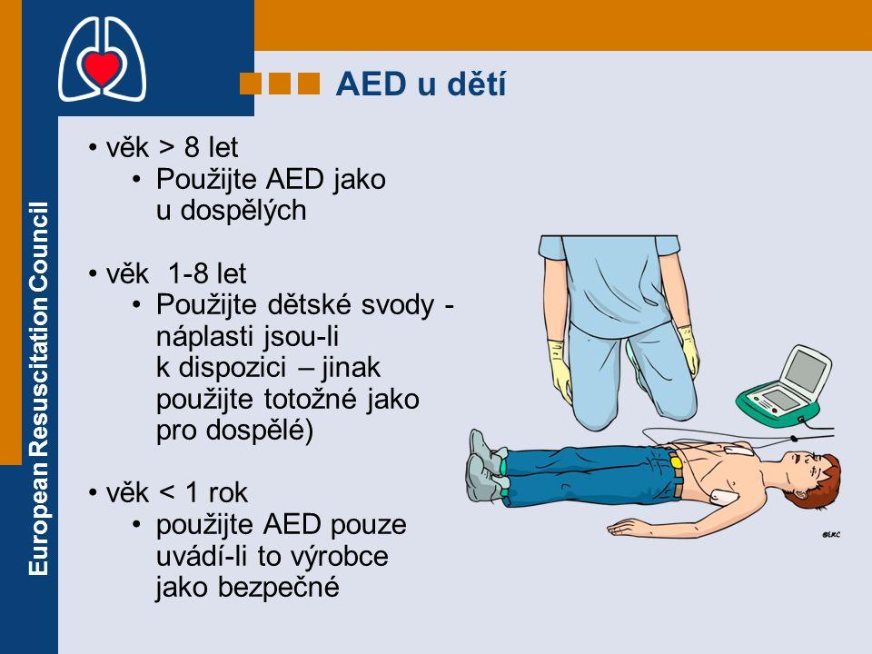 AED u dětí věk > 8 let Použijte AED jako u dospělých věk 1-8 let Použijte dětské svody - náplasti jsou-li k dispozici – jinak použijte totožné jako pr