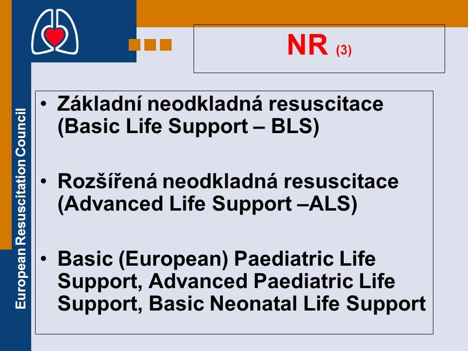 European Resuscitation Council NR (3) Základní neodkladná resuscitace (Basic Life Support – BLS) Rozšířená neodkladná resuscitace (Advanced Life Suppo