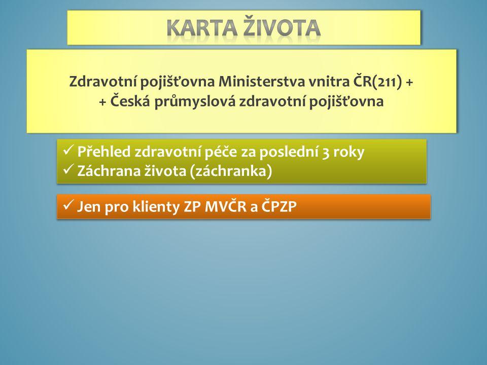 Přehled zdravotní péče za poslední 3 roky Záchrana života (záchranka) Přehled zdravotní péče za poslední 3 roky Záchrana života (záchranka) Jen pro klienty ZP MVČR a ČPZP Zdravotní pojišťovna Ministerstva vnitra ČR(211) + + Česká průmyslová zdravotní pojišťovna Zdravotní pojišťovna Ministerstva vnitra ČR(211) + + Česká průmyslová zdravotní pojišťovna