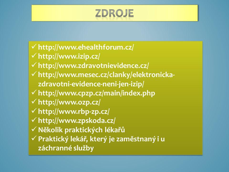http://www.ehealthforum.cz/ http://www.izip.cz/ http://www.zdravotnievidence.cz/ http://www.mesec.cz/clanky/elektronicka- zdravotni-evidence-neni-jen-izip/ http://www.cpzp.cz/main/index.php http://www.ozp.cz/ http://www.rbp-zp.cz/ http://www.zpskoda.cz/ Několik praktických lékařů Praktický lekář, který je zaměstnaný i u záchranné služby http://www.ehealthforum.cz/ http://www.izip.cz/ http://www.zdravotnievidence.cz/ http://www.mesec.cz/clanky/elektronicka- zdravotni-evidence-neni-jen-izip/ http://www.cpzp.cz/main/index.php http://www.ozp.cz/ http://www.rbp-zp.cz/ http://www.zpskoda.cz/ Několik praktických lékařů Praktický lekář, který je zaměstnaný i u záchranné služby