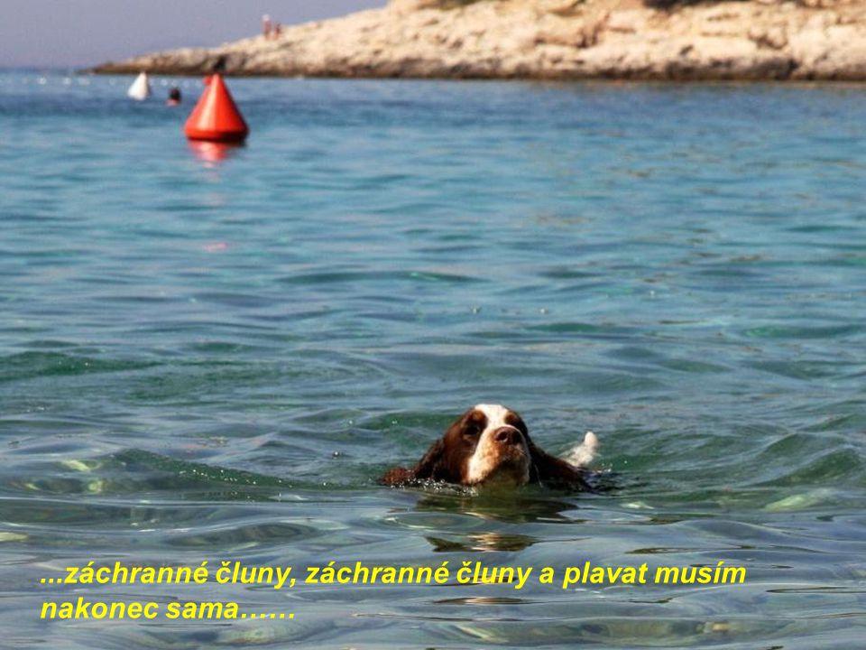 ...záchranné čluny, záchranné čluny a plavat musím nakonec sama……