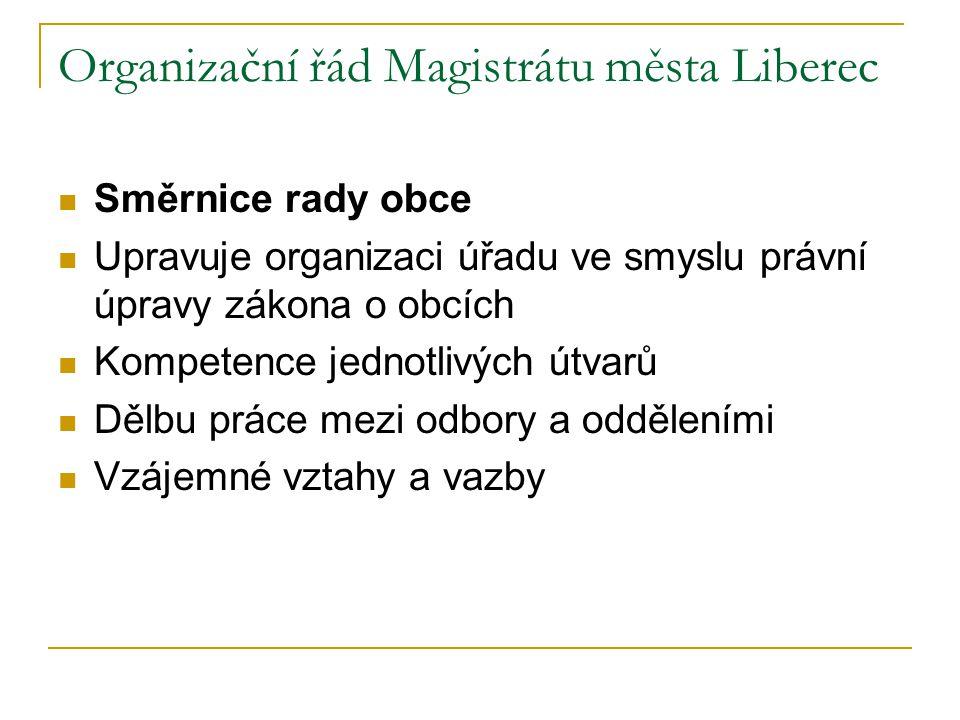 Organizační řád Magistrátu města Liberec Směrnice rady obce Upravuje organizaci úřadu ve smyslu právní úpravy zákona o obcích Kompetence jednotlivých