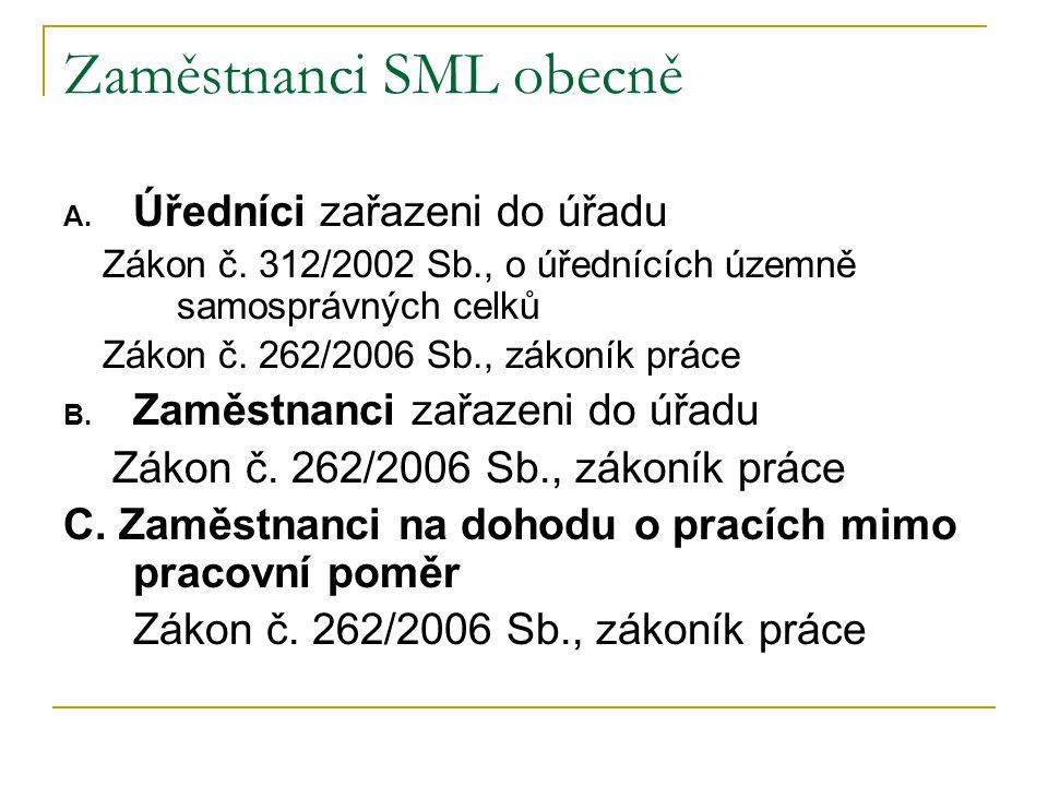 Zaměstnanci SML obecně A. Úředníci zařazeni do úřadu Zákon č. 312/2002 Sb., o úřednících územně samosprávných celků Zákon č. 262/2006 Sb., zákoník prá
