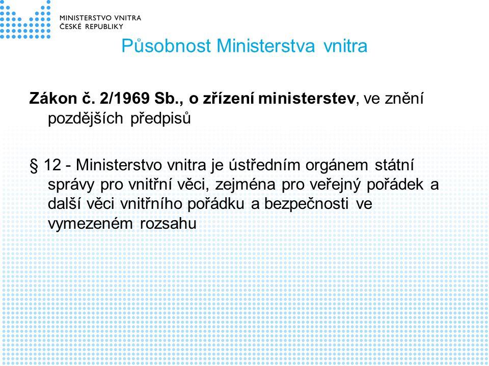 Působnost Ministerstva vnitra Zákon č. 2/1969 Sb., o zřízení ministerstev, ve znění pozdějších předpisů § 12 - Ministerstvo vnitra je ústředním orgáne