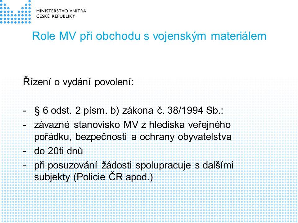 Role MV při obchodu s vojenským materiálem Řízení o vydání povolení: - § 6 odst. 2 písm. b) zákona č. 38/1994 Sb.: -závazné stanovisko MV z hlediska v