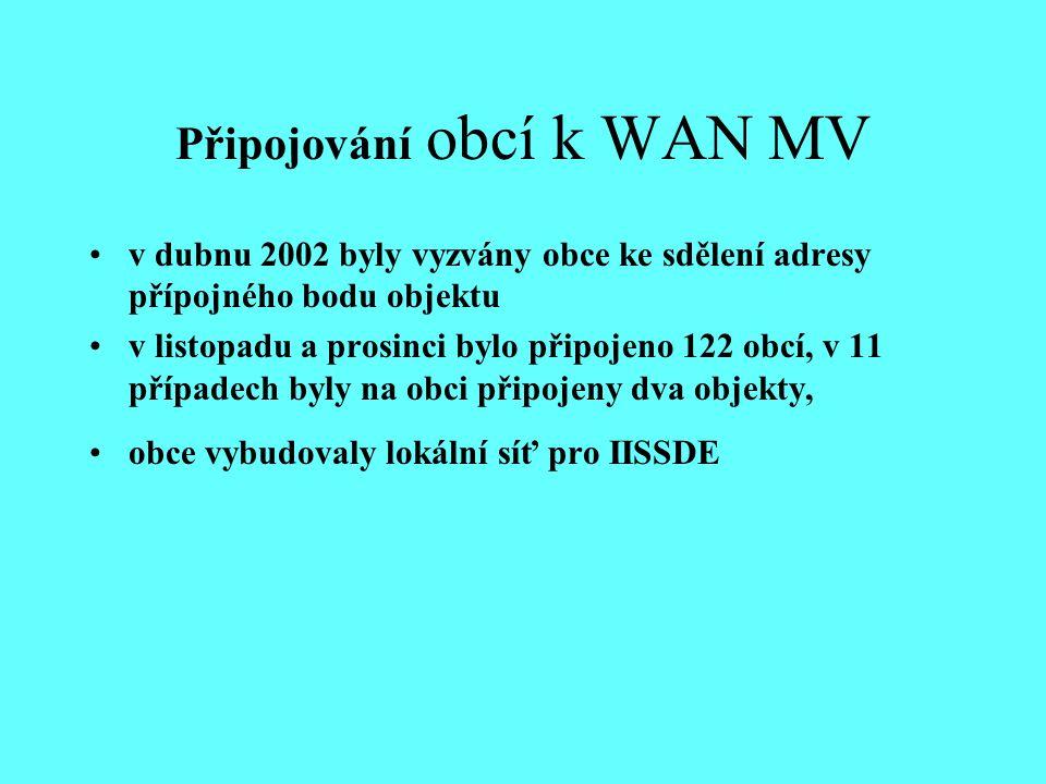 Připojování obcí k WAN MV v dubnu 2002 byly vyzvány obce ke sdělení adresy přípojného bodu objektu v listopadu a prosinci bylo připojeno 122 obcí, v 11 případech byly na obci připojeny dva objekty, obce vybudovaly lokální síť pro IISSDE