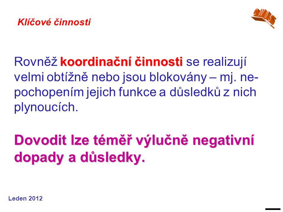 Leden 2012 koordinační činnosti Dovodit lze téměř výlučně negativní dopady a důsledky.