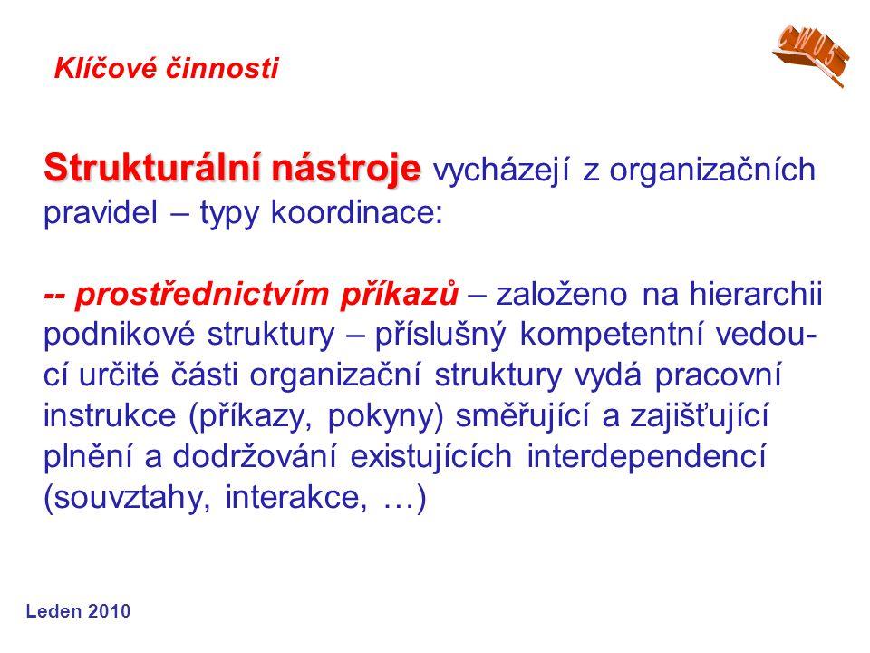 Leden 2010 Strukturální nástroje Strukturální nástroje vycházejí z organizačních pravidel – typy koordinace: -- prostřednictvím příkazů – založeno na hierarchii podnikové struktury – příslušný kompetentní vedou- cí určité části organizační struktury vydá pracovní instrukce (příkazy, pokyny) směřující a zajišťující plnění a dodržování existujících interdependencí (souvztahy, interakce, …) Klíčové činnosti
