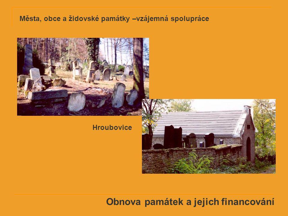 Obnova památek a jejich financování Hroubovice Města, obce a židovské památky –vzájemná spolupráce