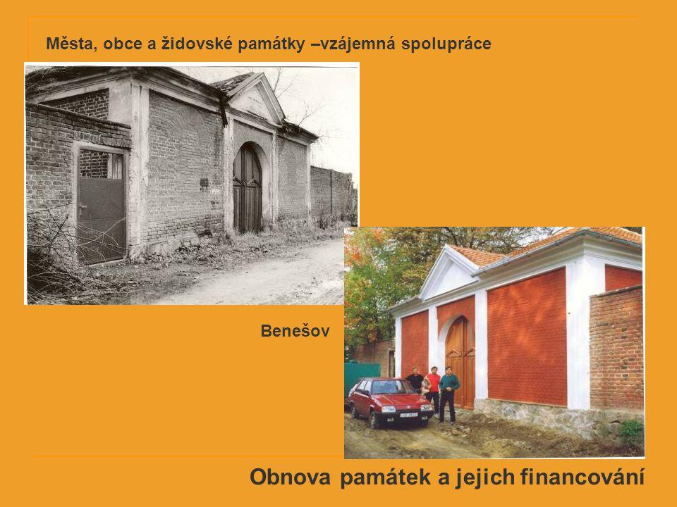 Obnova památek a jejich financování Benešov Města, obce a židovské památky –vzájemná spolupráce
