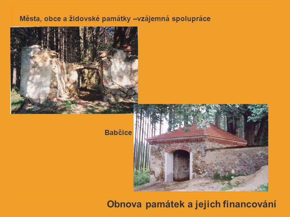 Obnova památek a jejich financování Babčice Města, obce a židovské památky –vzájemná spolupráce