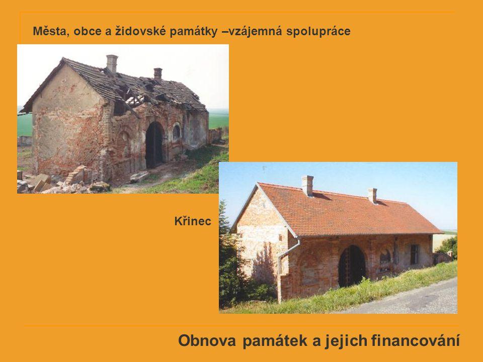 Obnova památek a jejich financování Křinec Města, obce a židovské památky –vzájemná spolupráce