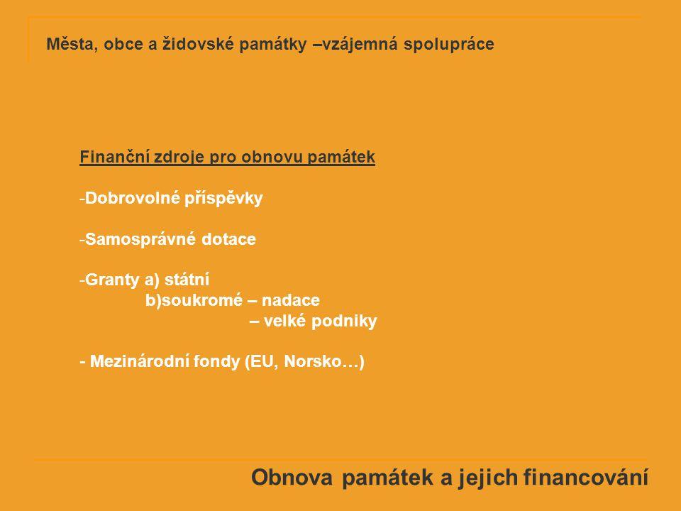 Obnova památek a jejich financování Finanční zdroje pro obnovu památek -Dobrovolné příspěvky -Samosprávné dotace -Granty a) státní b)soukromé – nadace – velké podniky - Mezinárodní fondy (EU, Norsko…)