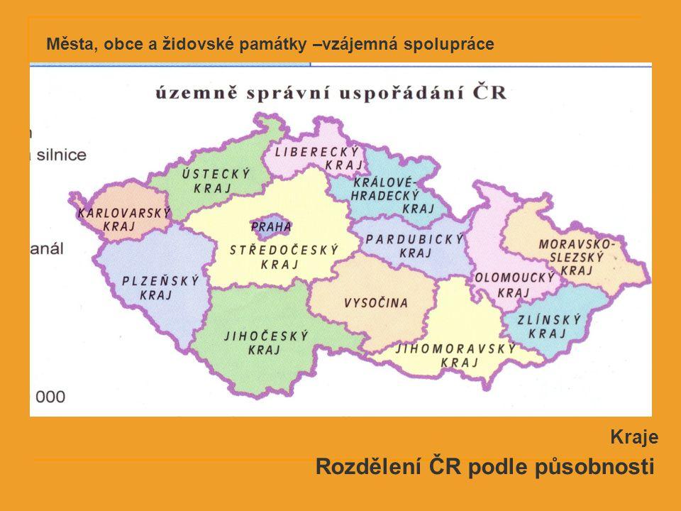 Rozdělení ČR podle působnosti Kraje Města, obce a židovské památky –vzájemná spolupráce