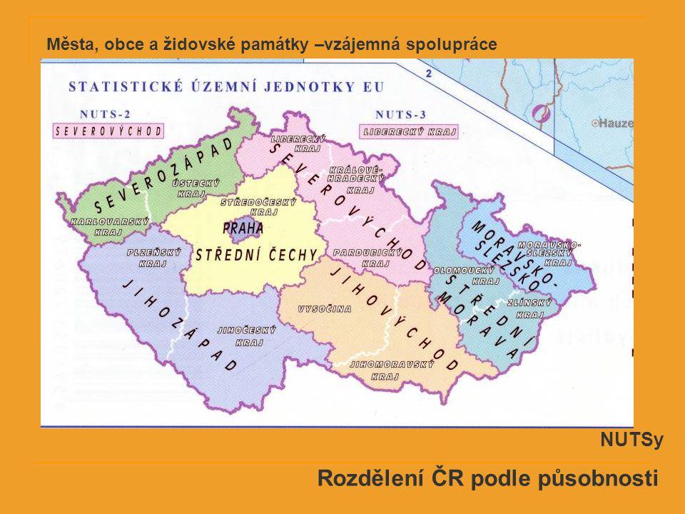 Rozdělení ČR podle působnosti NUTSy Města, obce a židovské památky –vzájemná spolupráce