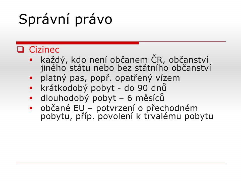 Správní právo  Cizinec  každý, kdo není občanem ČR, občanství jiného státu nebo bez státního občanství  platný pas, popř. opatřený vízem  krátkodo