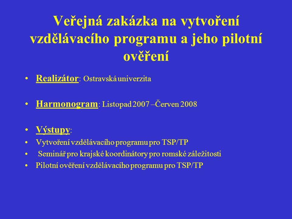 Veřejná zakázka na vytvoření vzdělávacího programu a jeho pilotní ověření Realizátor : Ostravská univerzita Harmonogram : Listopad 2007 –Červen 2008 V