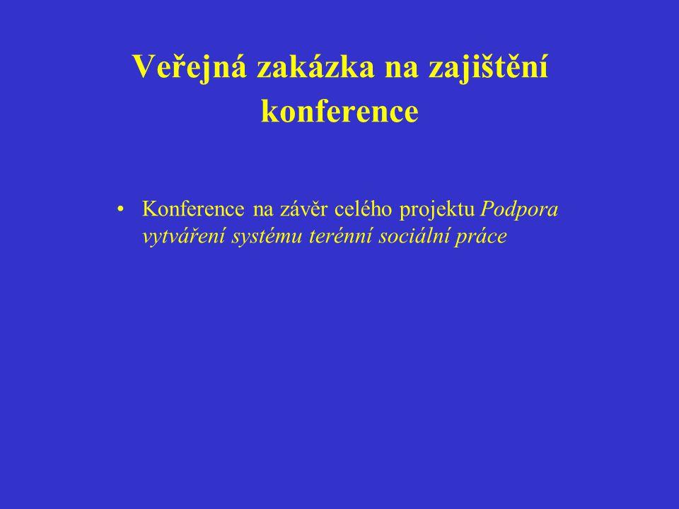 Veřejná zakázka na zajištění konference Konference na závěr celého projektu Podpora vytváření systému terénní sociální práce