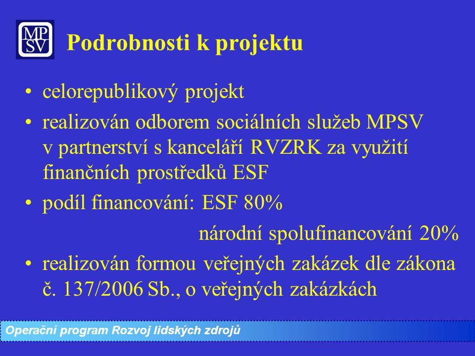 Podrobnosti k projektu celorepublikový projekt realizován odborem sociálních služeb MPSV v partnerství s kanceláří RVZRK za využití finančních prostře
