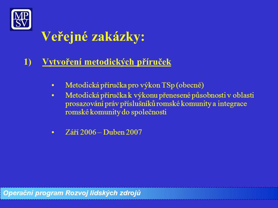 Veřejné zakázky: 1)Vytvoření metodických příruček Metodická příručka pro výkon TSp (obecně) Metodická příručka k výkonu přenesené působnosti v oblasti