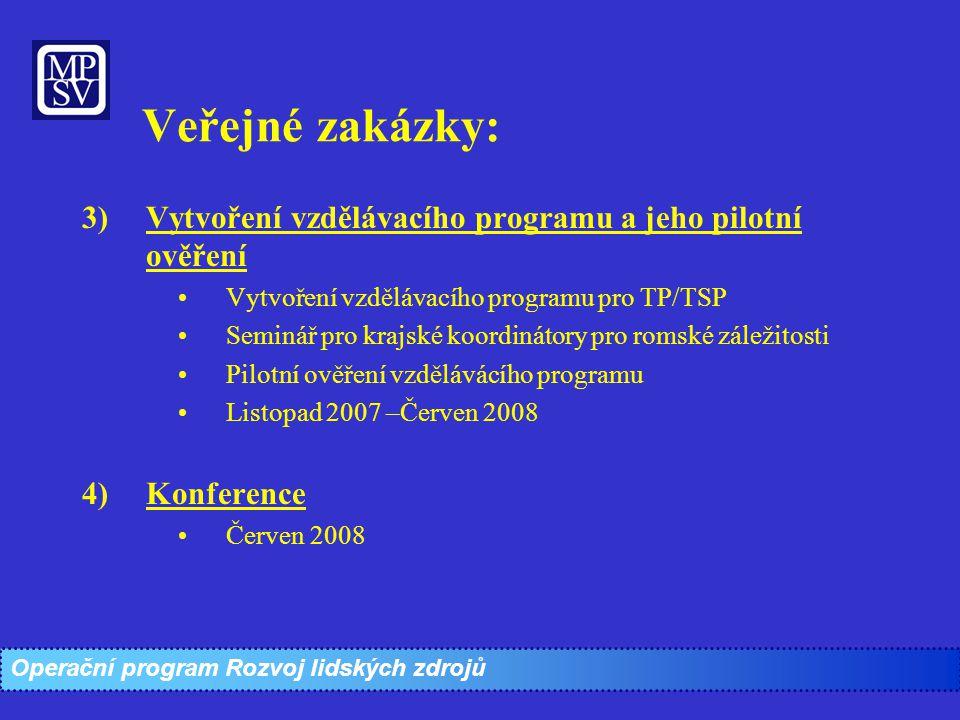 3)Vytvoření vzdělávacího programu a jeho pilotní ověření Vytvoření vzdělávacího programu pro TP/TSP Seminář pro krajské koordinátory pro romské záleži