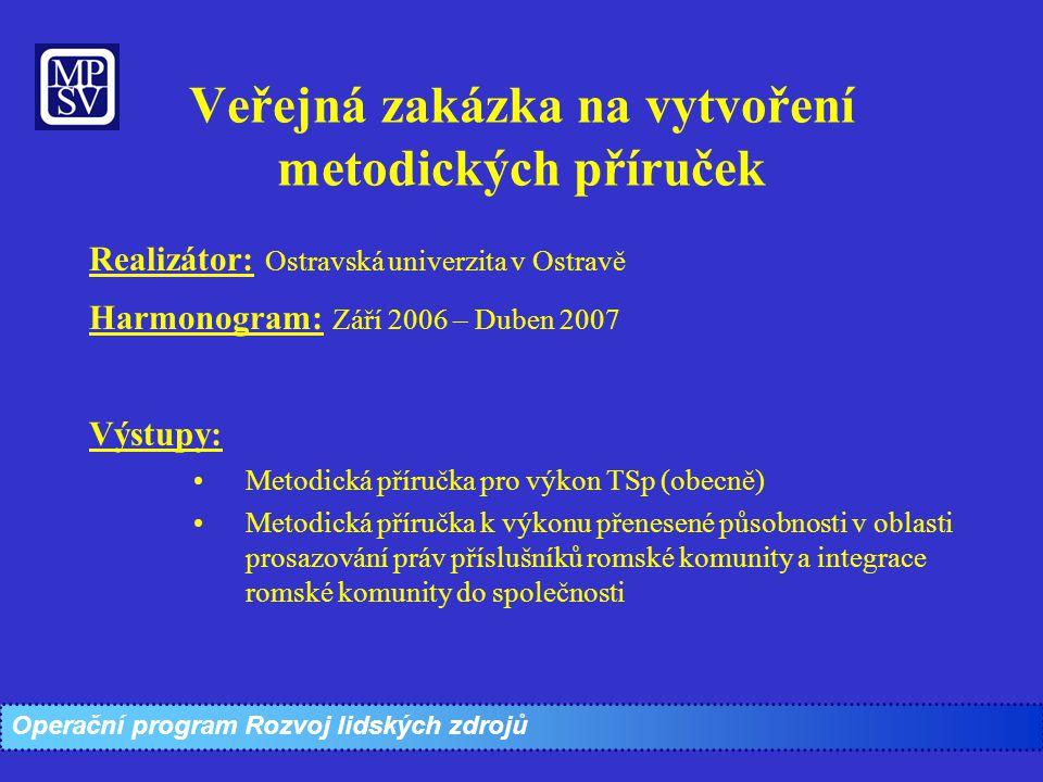 Veřejná zakázka na vytvoření metodických příruček Realizátor: Ostravská univerzita v Ostravě Harmonogram: Září 2006 – Duben 2007 Výstupy: Metodická př